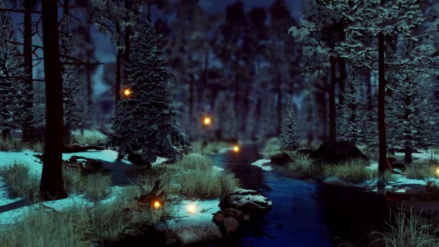 Supernatural fairy lights in dark winter forest at morning or dusk