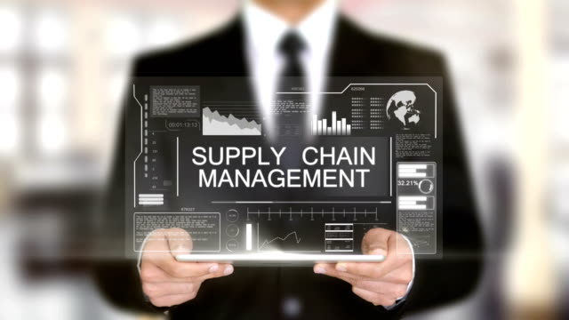 Supply Chain Management, Businessman with Hologram concept