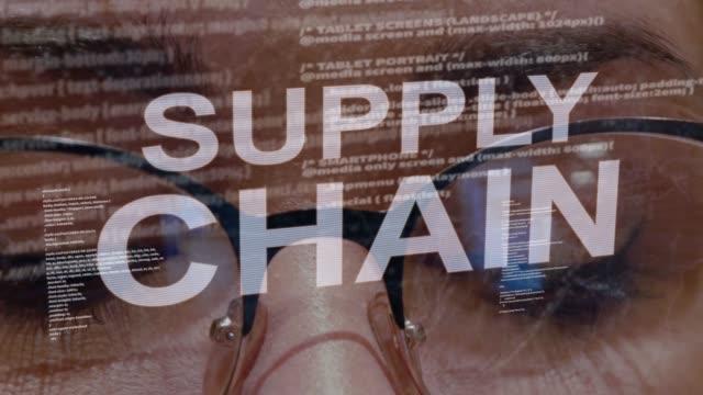 supply chain text på bakgrund av kvinnliga utvecklare - chain studio bildbanksvideor och videomaterial från bakom kulisserna