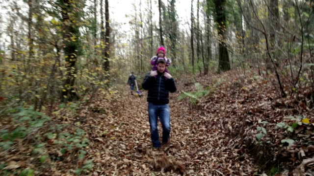 Supportive Dad and Little girl in Woods video