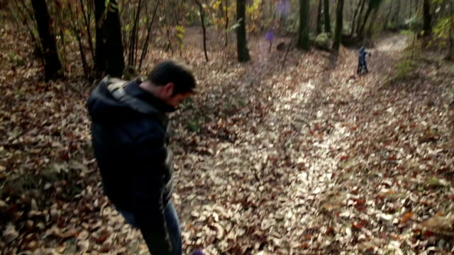 Supportive Dad Walk in the Woods walking with Daughter video