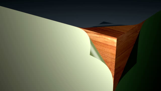 surface of a cube that opens and shows the interior of wood video