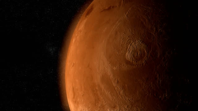 ytan av mars planet med olympus mons kretsar runt i rymden - mars bildbanksvideor och videomaterial från bakom kulisserna
