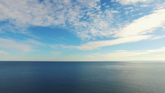 AERIAL: Surface of the blue sea in morning light video