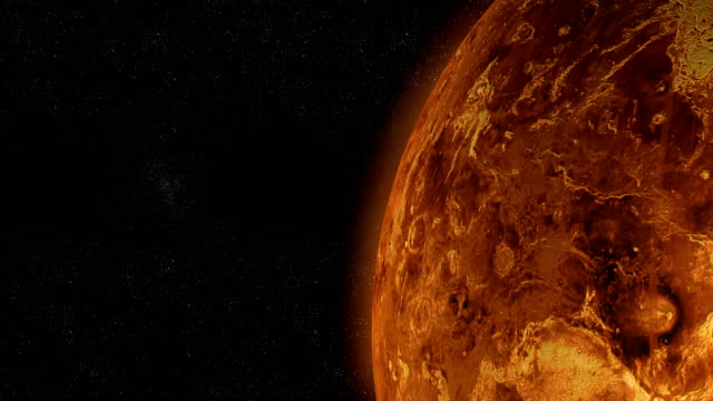 Surface of Venus planet orbiting in outer space