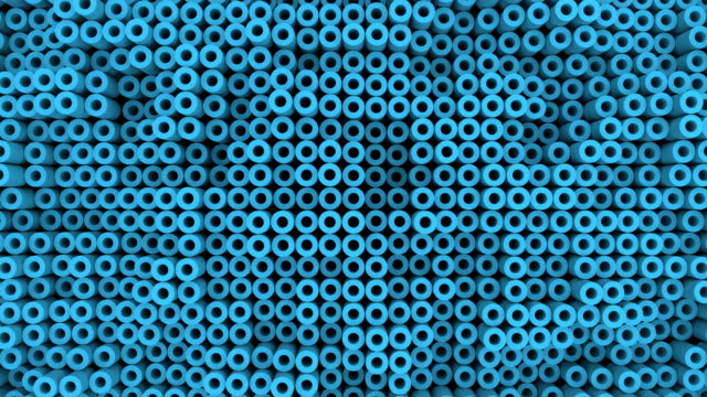 Surface with moving blue cylinders animation background