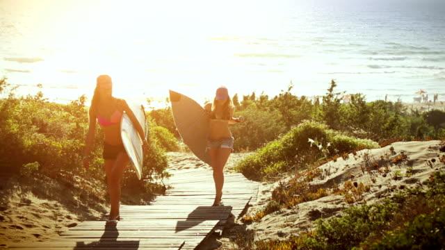 Chicas surfista en la playa al atardecer - vídeo