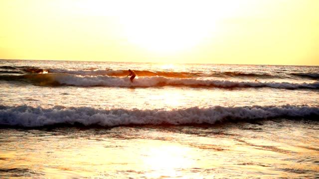 Surfer rides wave at sunset, slow motion