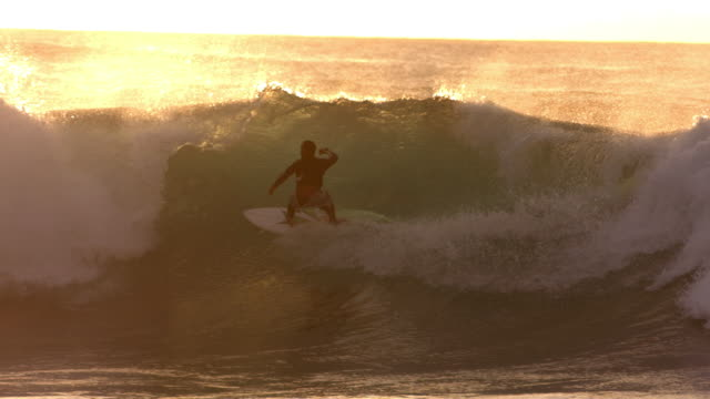 Surfer rides wave at sunset, slow motion video