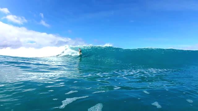 Surfer Riding Blue Ocean Wave Water Shot video