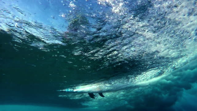 Surfer Riding Wave Underwater Pass By video