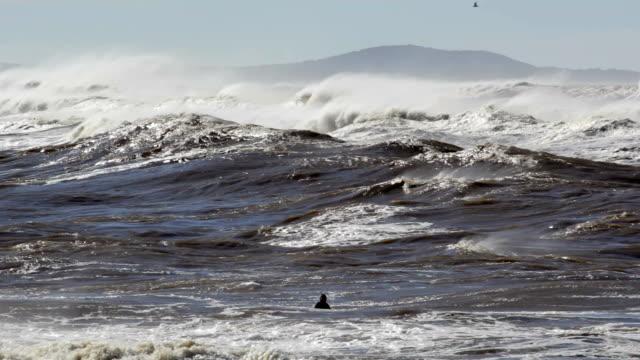 vídeos y material grabado en eventos de stock de surfista espera para una ola de agua sucia - marea