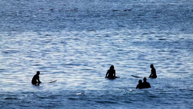 vídeos de stock, filmes e b-roll de surfistas flutuante - flutuando na água