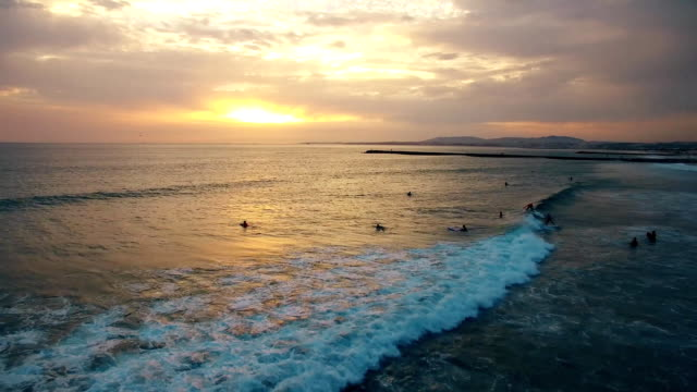 Surfers on the spot in the evening at sunset aerial view Portugal video