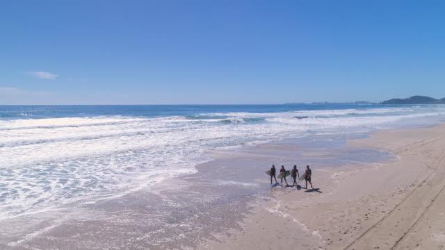 stockvideo's en b-roll-footage met surfers wandelen op het strand - vier personen