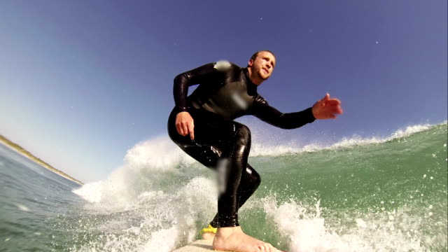 Surfing pov. HD Slow Motion video