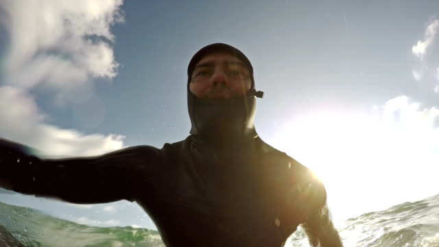 Surfing pov with action camera video