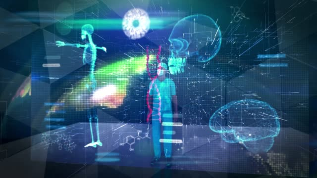 vídeos de stock, filmes e b-roll de cirurgião trabalhando em tecnologia de tela sensível ao toque 3d de realidade virtual holográfica - holograma