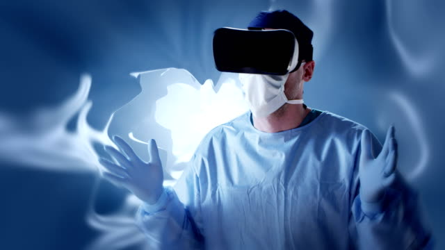 Surgeon working in virtual reality glasses. Medical research video