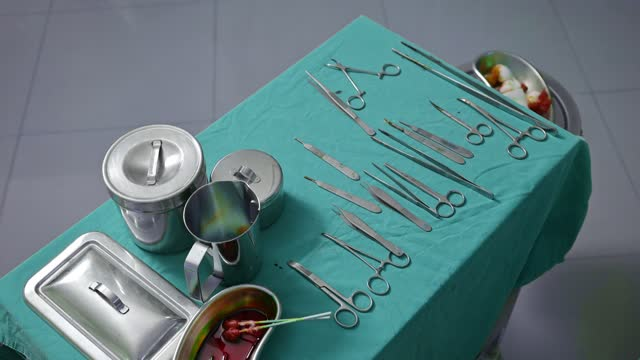 Surgical assistant choosing surgical instruments on green table in the operating room