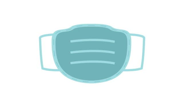 maschera facciale chirurgica o medica animazione coronavirus blu - illustrazione video stock e b–roll