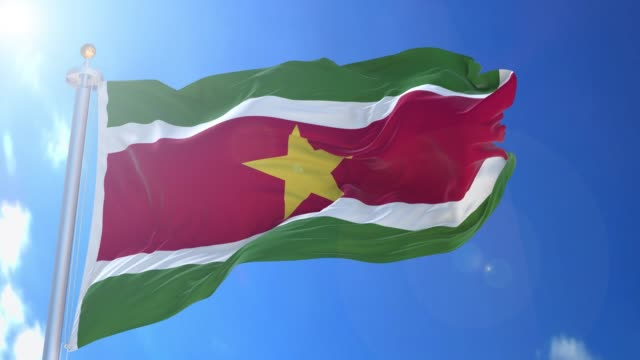 Suriname animated flag pack in 3D and isolated background