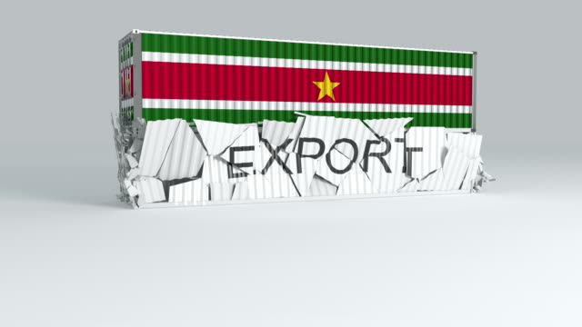 Suriname container with  flag falls on top of a container labeled EXPORT
