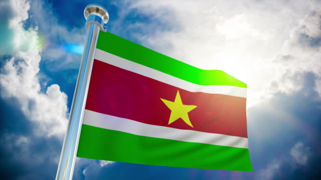 4K Suriname Flag - Loopable stock video