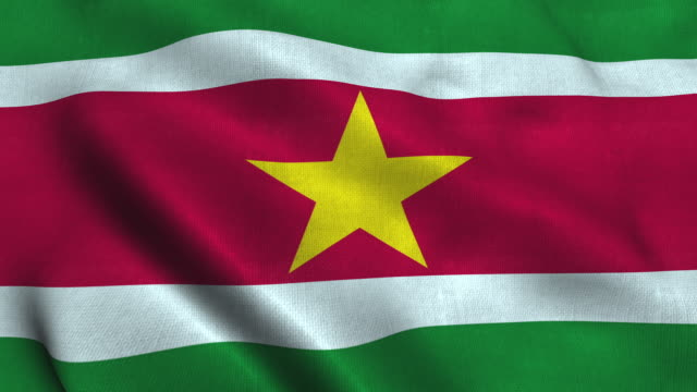 Suriname flag waving in the wind. National flag Republic of Suriname
