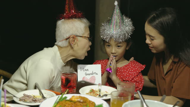 Surprise birthday gift card present to grandmother and get kissing - stock video video