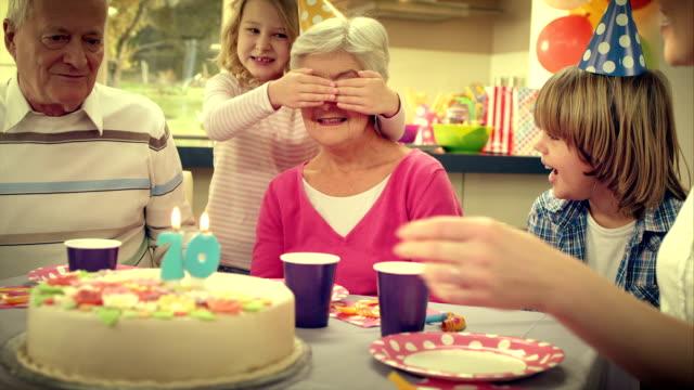 SLO MO surprise cake for grandma video