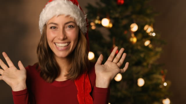 Surprised beauty at Christmas video