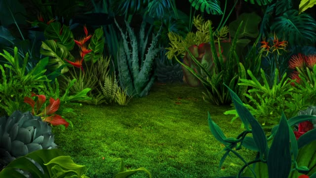 surreal animated night jungle background - obficie ulistniony filmów i materiałów b-roll