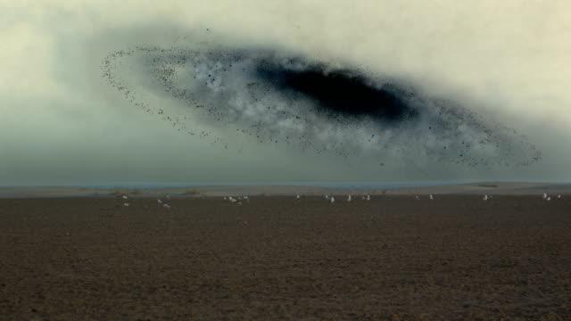 Surreal desert. Space black hole.