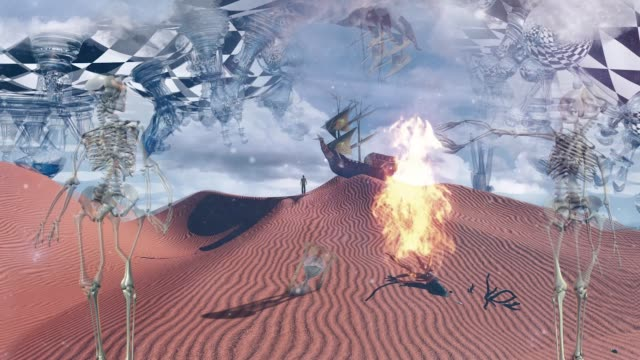 Surreal desert Surreal desert with chessboard and figures. Ancient ship in the sky. Skeletons, hourglass and dried branch. Figure of man in a distance and ancient ship on a sand dune branch plant part stock videos & royalty-free footage