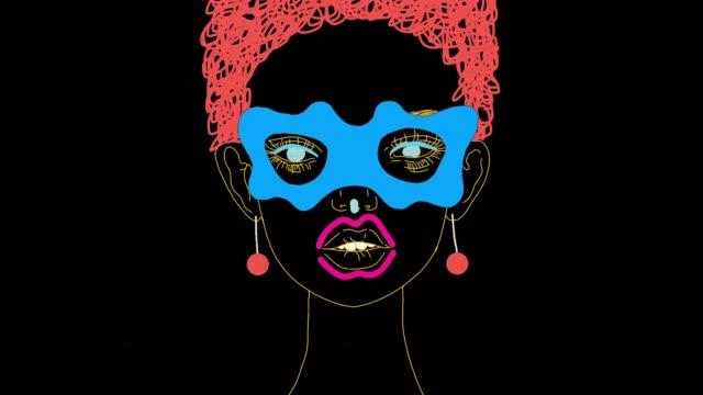 vidéos et rushes de animation de dessin animé de visage de fille surréaliste - psychédélique