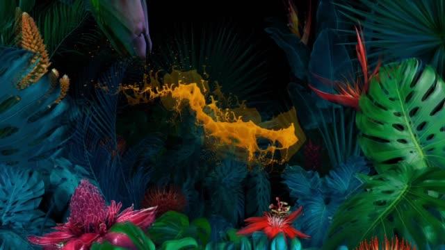 Surreal jungle with splash of orange paint