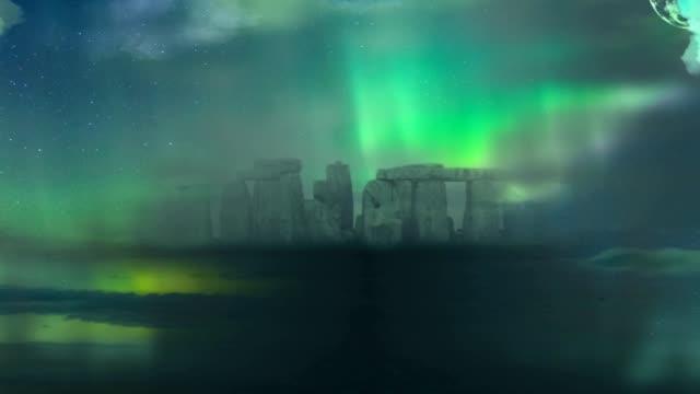 surreal landscape. stonehenge - obiekt światowego dziedzictwa unesco filmów i materiałów b-roll