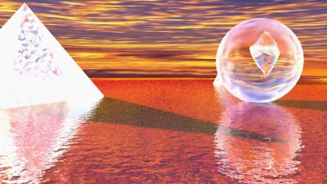 vídeos de stock e filmes b-roll de surrealistic shapes on the sea - 3d rendering video - surrealismo