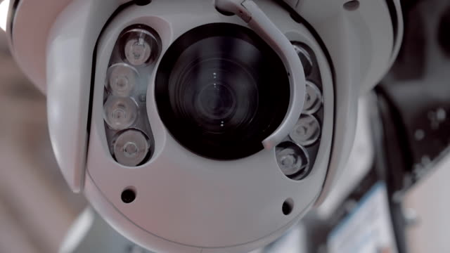 Surveillance camera rotates for checking the surrounding area video