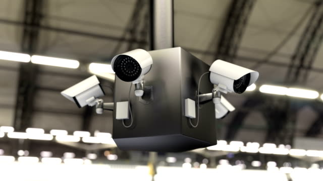 Surveillance system and security cameras scanning the public area, 3d animation video