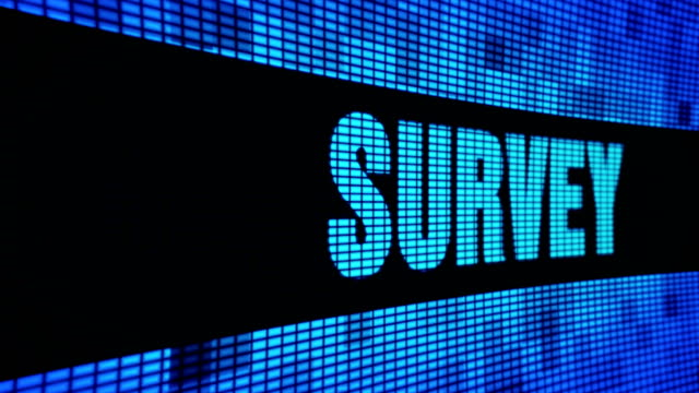 Survey Side Text Scrolling LED Wall Pannel Display Sign Board Survey Side Text Scrolling on Light Blue Digital LED Display Board Pixel Light Screen Looped Animation 4K Background. Sign Board , Blinking Light, Pixel Monitor . LED Wall Pannel survey icon stock videos & royalty-free footage