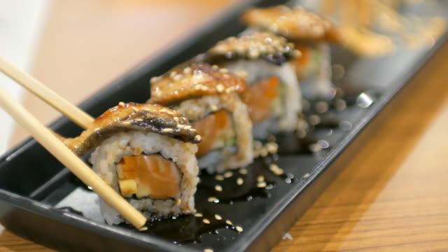Sushi bar Japanese Food at Japanese restaurant , 4k(UHD) video