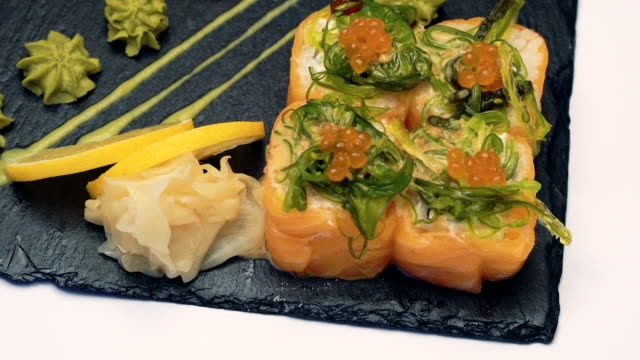 Sushi dish on white background Sushi dish on white background. Full HD sesame stock videos & royalty-free footage