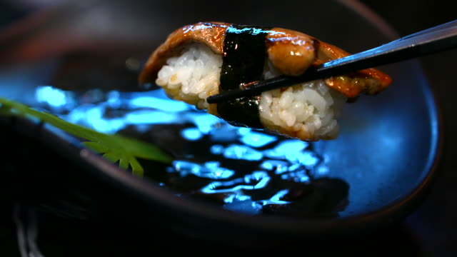 Sushi Japanese food eating, Foie gras sushi video