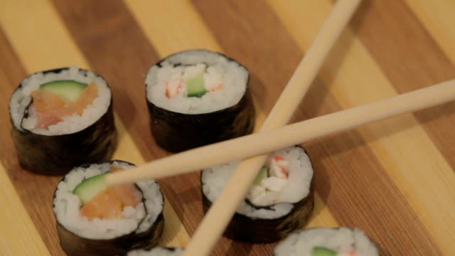 Sushi on wooden plate video