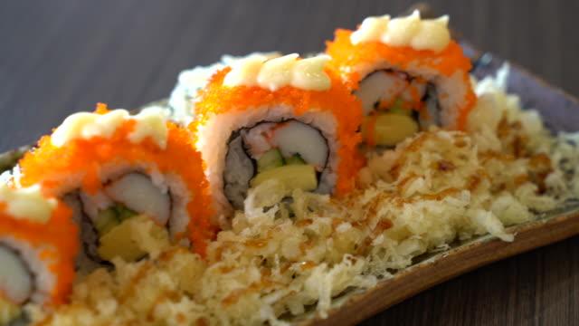 sushi roll - japanese food sushi roll - japanese food sashimi stock videos & royalty-free footage