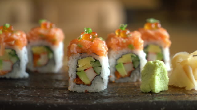 sushi roll with salmon video