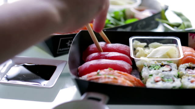 sushi sharing   fo - sushi stock videos and b-roll footage