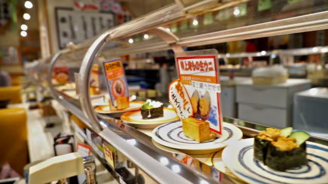 寿司の鉄道、日本の料理 ビデオ